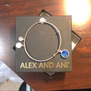 Alex and Ani Bangle with Blue Gem Charm